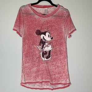 Disney Mickey Mouse Red Distressed T Shirt L